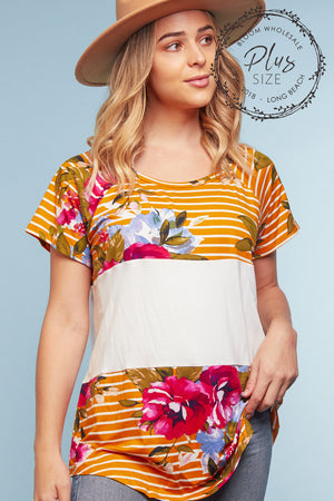 Plus Mustard Stripe Floral Color Block Blouse