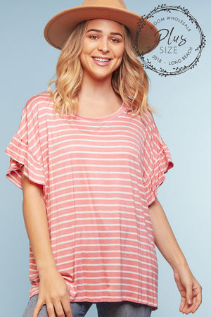 Plus Pink Stripe Blouse