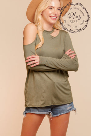 Plus Olive Cut Out Blouse