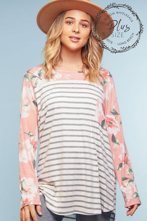 Plus Pink Floral Stripe Pocket Blouse