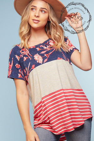 Plus Navy Floral Color Block Blouse