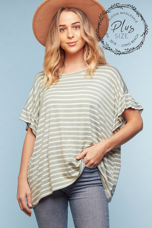 Plus Light Green Stripe Blouse