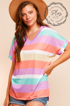 Plus Multi Stripe Blouse