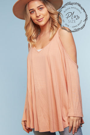 Plus Mauve Cold Shoulder Blouse