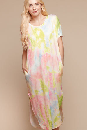 Neon Tie Dye Pocketed Dress