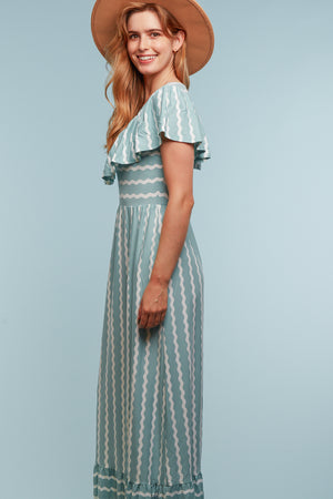Mint Stripe Design Maxi Dress (4pcs)