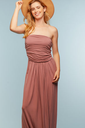 Mauve Strapless Maxi Dress