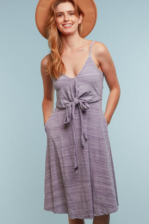 Grey Lined Tie Front Dress