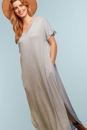 Heather Grey Solid Maxi Dress