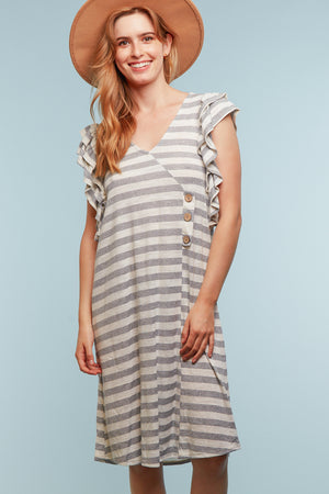 Grey & Ivory Stripe Button Dress