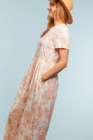 PLUS Ivory & Pink Floral Maxi Dress
