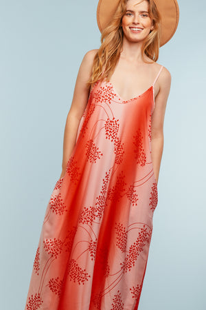 Red & Pink Design Maxi Dress