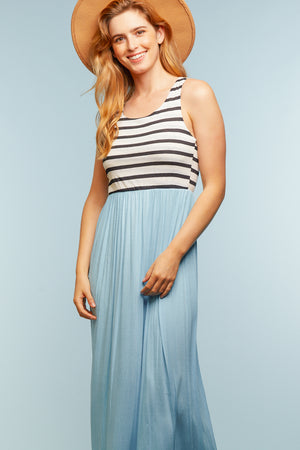 Stripe & Light Blue Color Block Maxi Dress