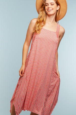 Red & Ivory Stripe Dress
