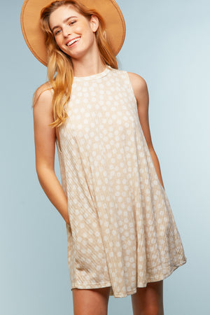 Taupe Polka Dot Sleeveless Dress