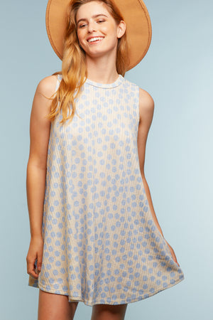 Blue Polka Dot Sleeveless Dress