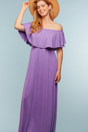 Purple Off Shoulder Maxi Dress