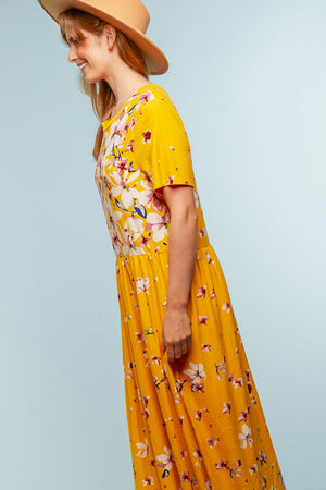 Plus Yellow Floral Maxi Dress