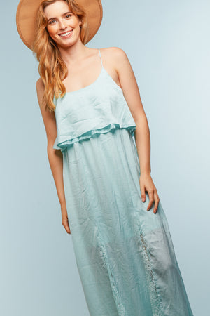 Aqua Lace Crochet Tie Maxi Dress