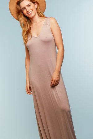 Taupe Solid Maxi Dress