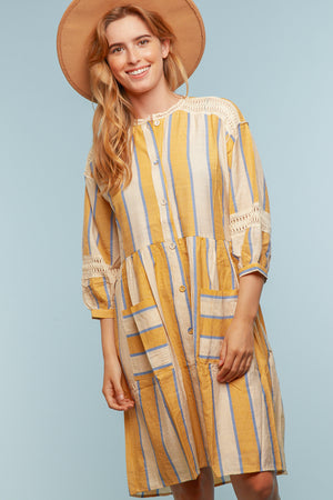 Yellow Crochet Vertical Line Button Dress
