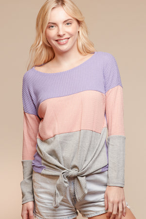 Purple & Pink Color Block Sweater