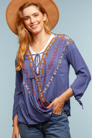 Blue Crochet Tie Blouse