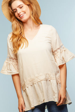 Cream Crochet Blouse