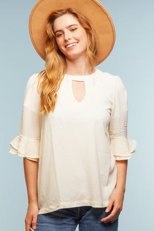 Cream Panel Blouse