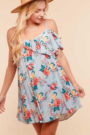 Blue Floral Ruffle Design Dress