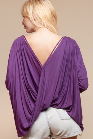 Purple Solid Open Back Blouse