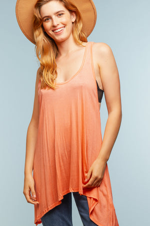Coral Solid Tunic