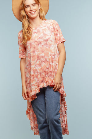 Coral Design Hi Lo Blouse