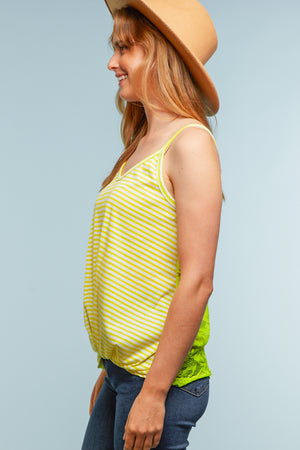Neon Yellow Crochet Back Top