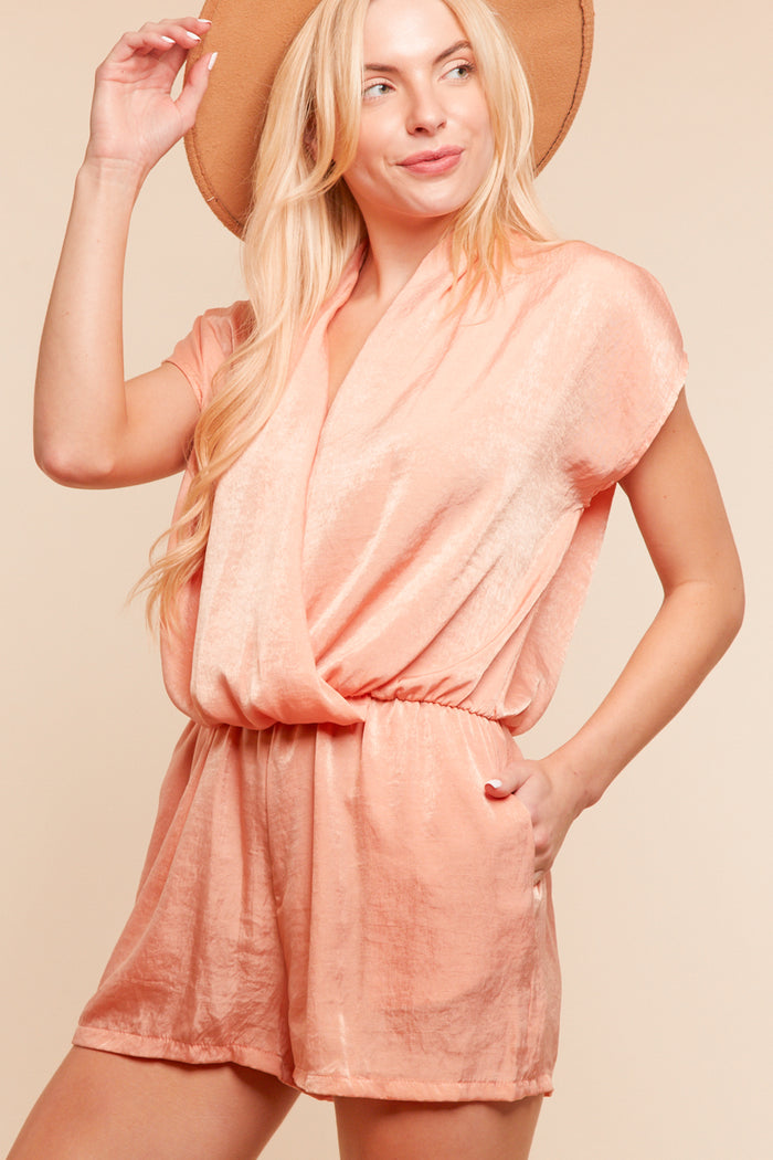 Blush Shimmering  Pocketed Romper