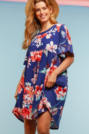Navy Floral Pocketed Babydoll Dress