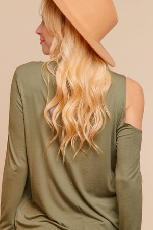 Olive Cut Out Blouse