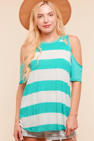 Mint Stripe Strap Design Blouse