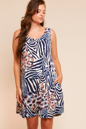 PLUS Animal Print Pocketed Dress