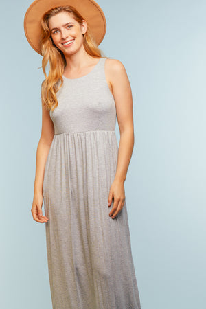Heather Grey Pocketed Maxi Dress