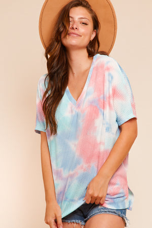 Aqua & Pink Thermal Tie Dye Blouse