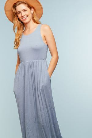 Light Blue Pocketed Maxi Dress