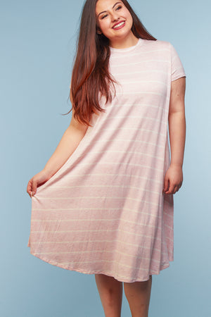 Plus Blush Stripe Dress