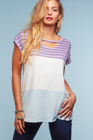 Lilac & Aqua Stripe Color Block Blouse
