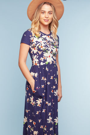 Navy Floral Pocketed Maxi Dress (4 pc)