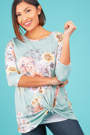 Mint Floral Twist Blouse