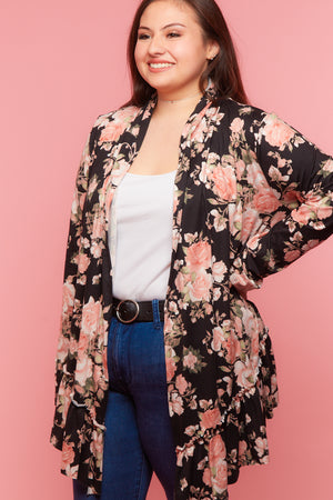 Plus Black Floral Flutter Hem Cardigan