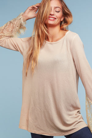 Taupe Crochet Sleeve Blouse