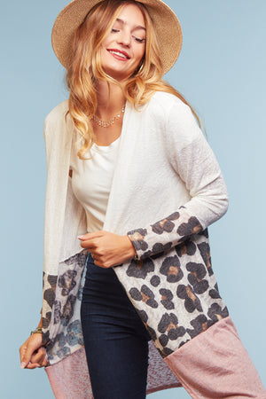 Blush Animal Color Block Cardigan