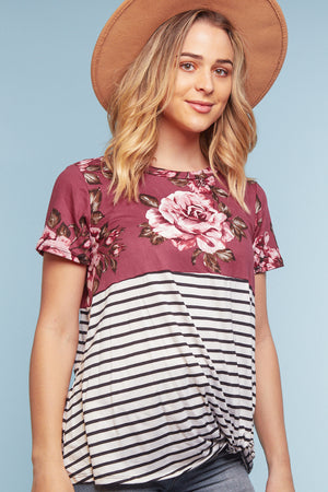 Off Plum Floral Stripe Color Block Twist Blouse